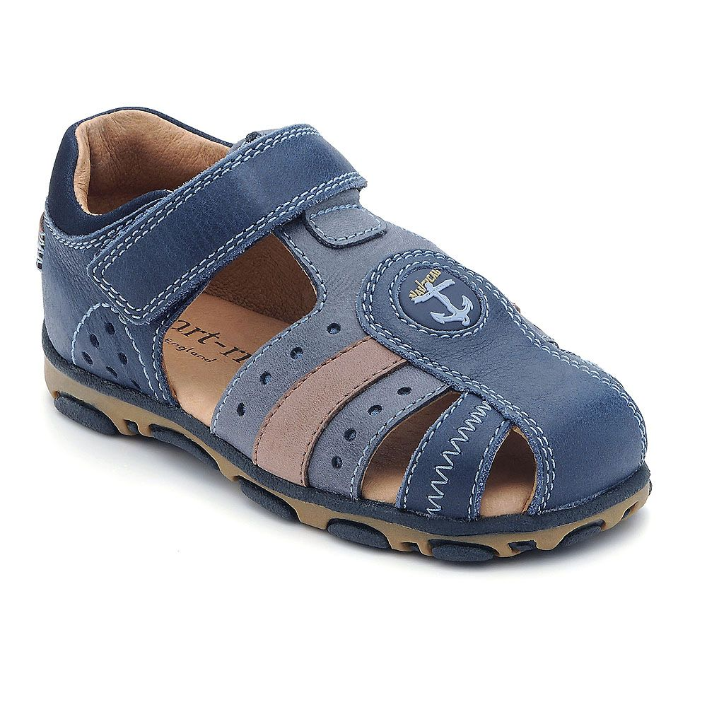 Boy`s turin navy leather sandal