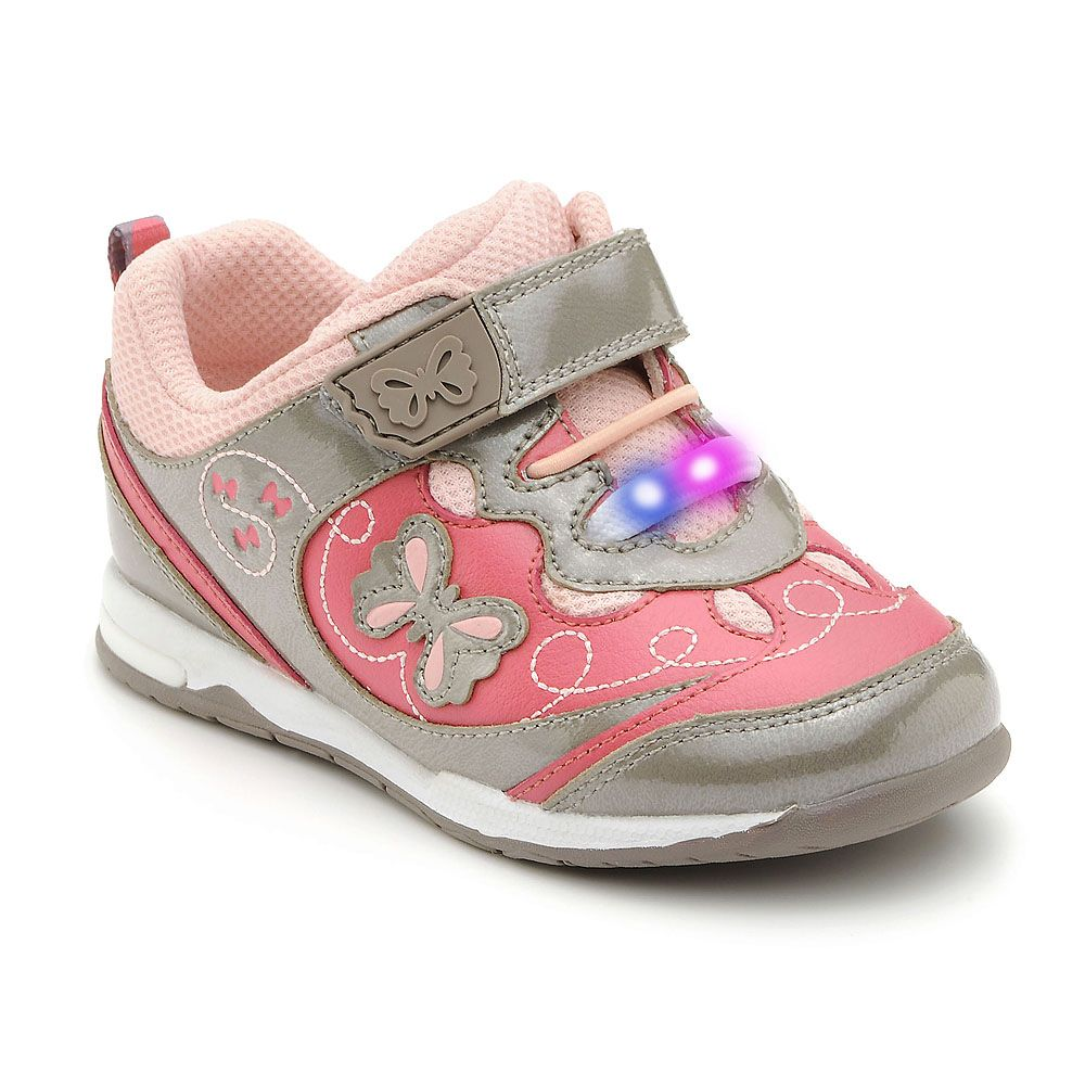 Girl`s dazzle light cinder/pink leather trainers