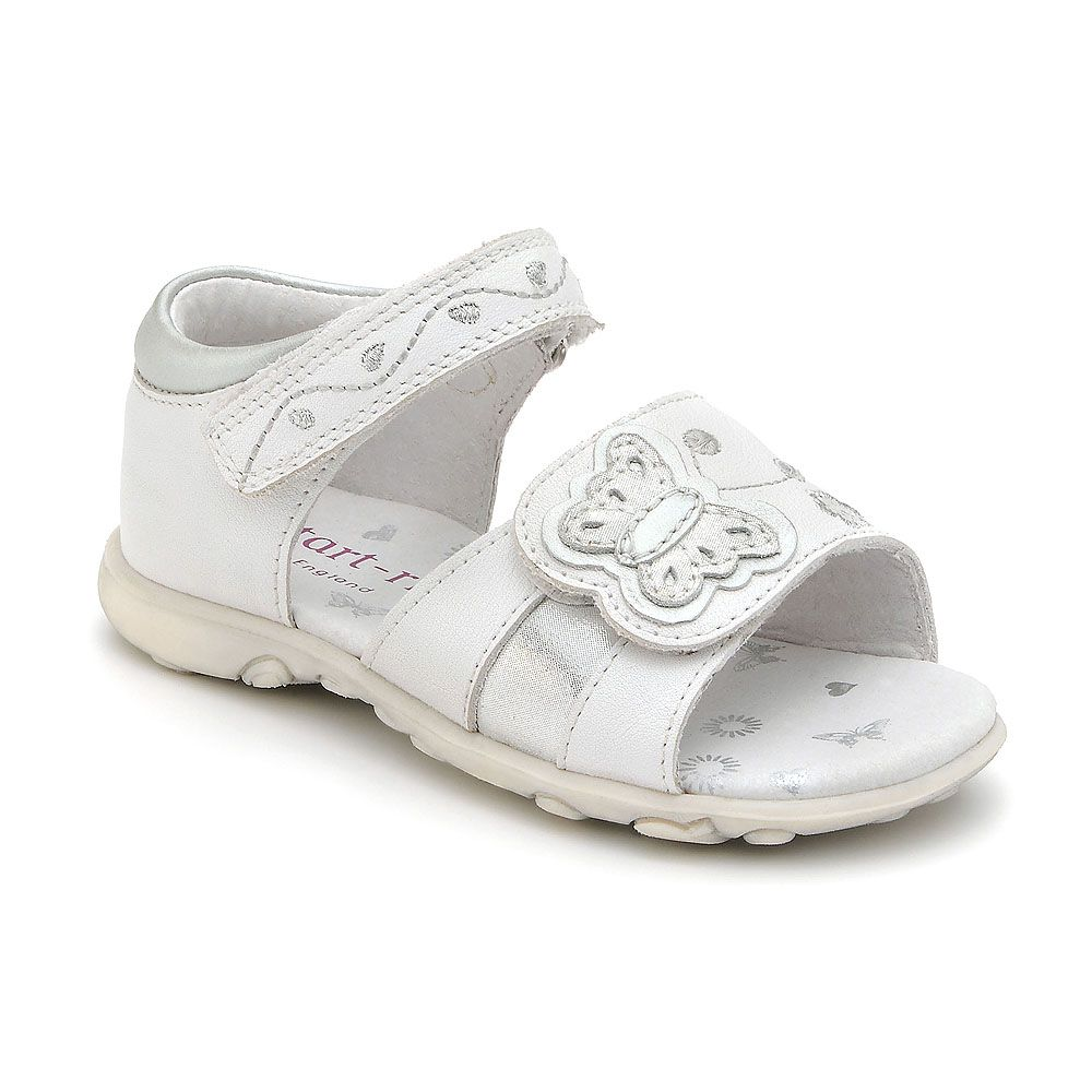 Girl`s marietta white leather sandal