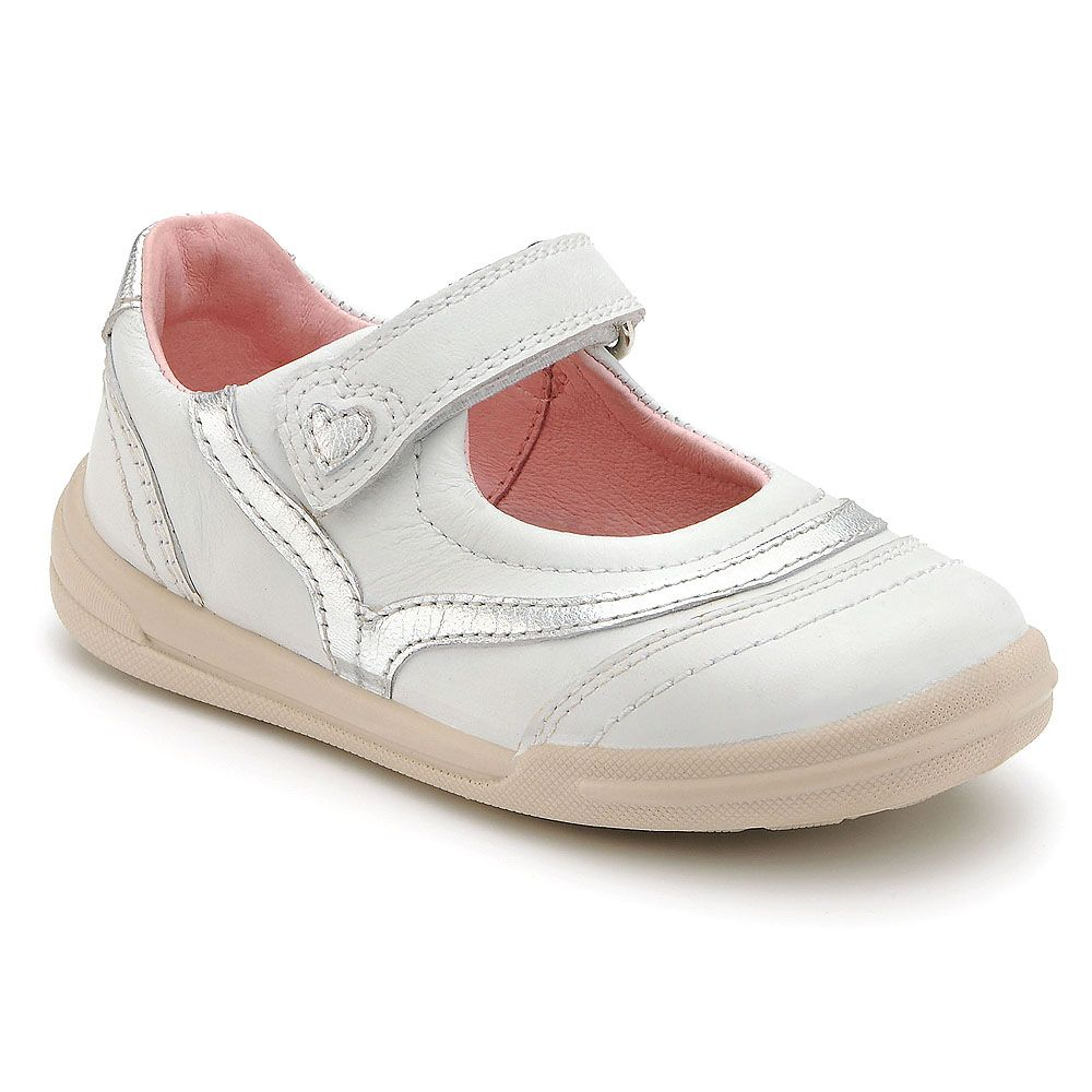 Girl`s flexy-soft feather white leather shoes