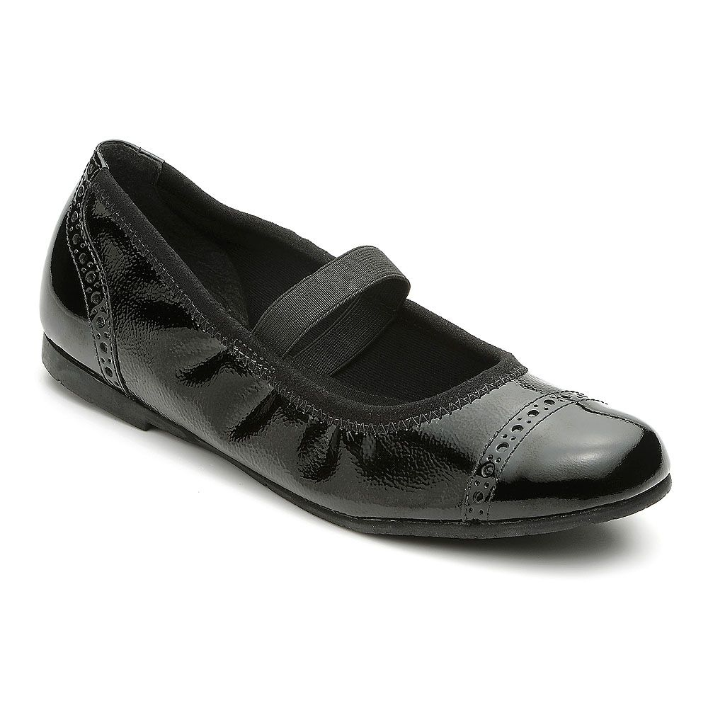 Girl`s nicki black patent shoes