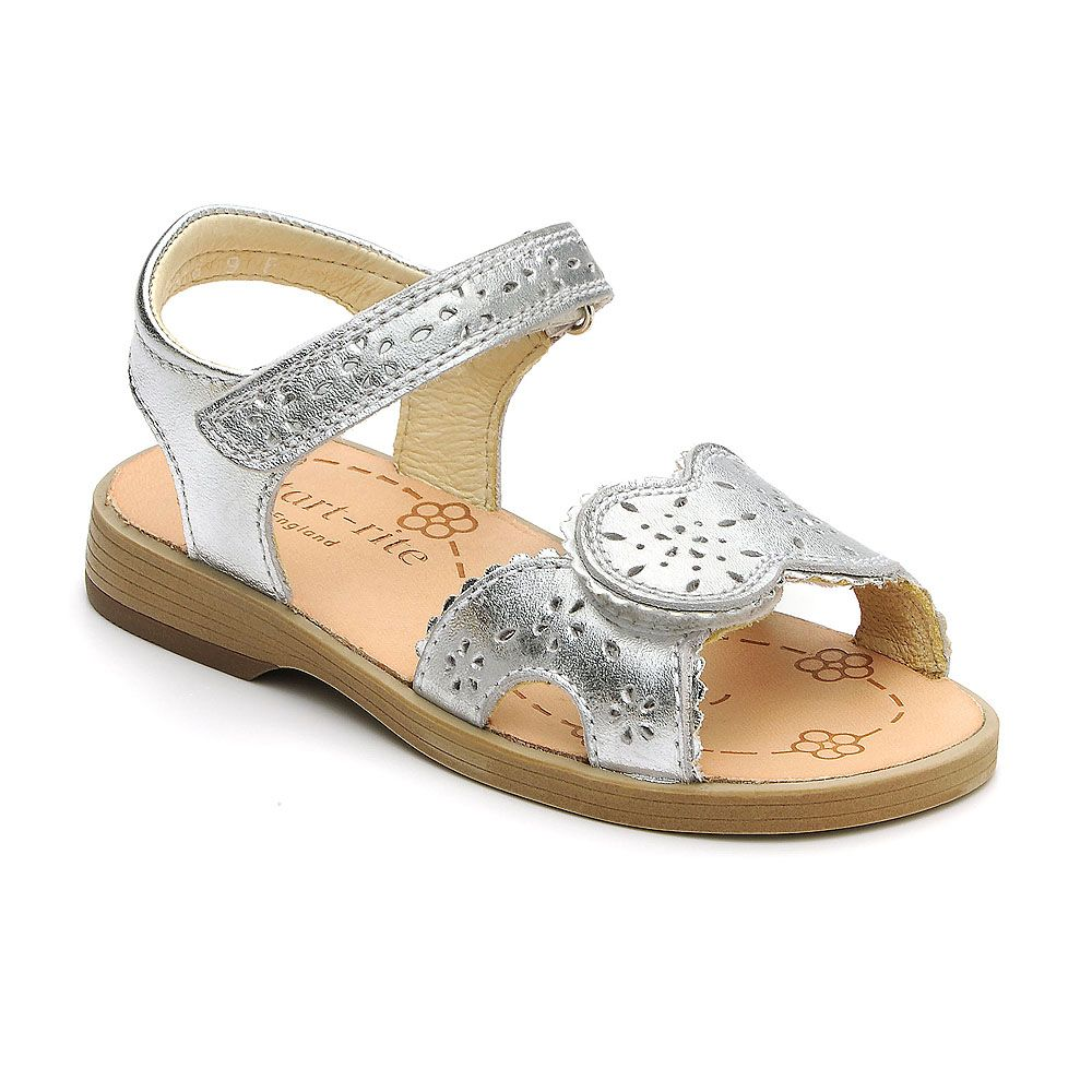Girl`s brooke silver leather sandal