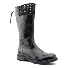 Infant girl`s laser patent boots