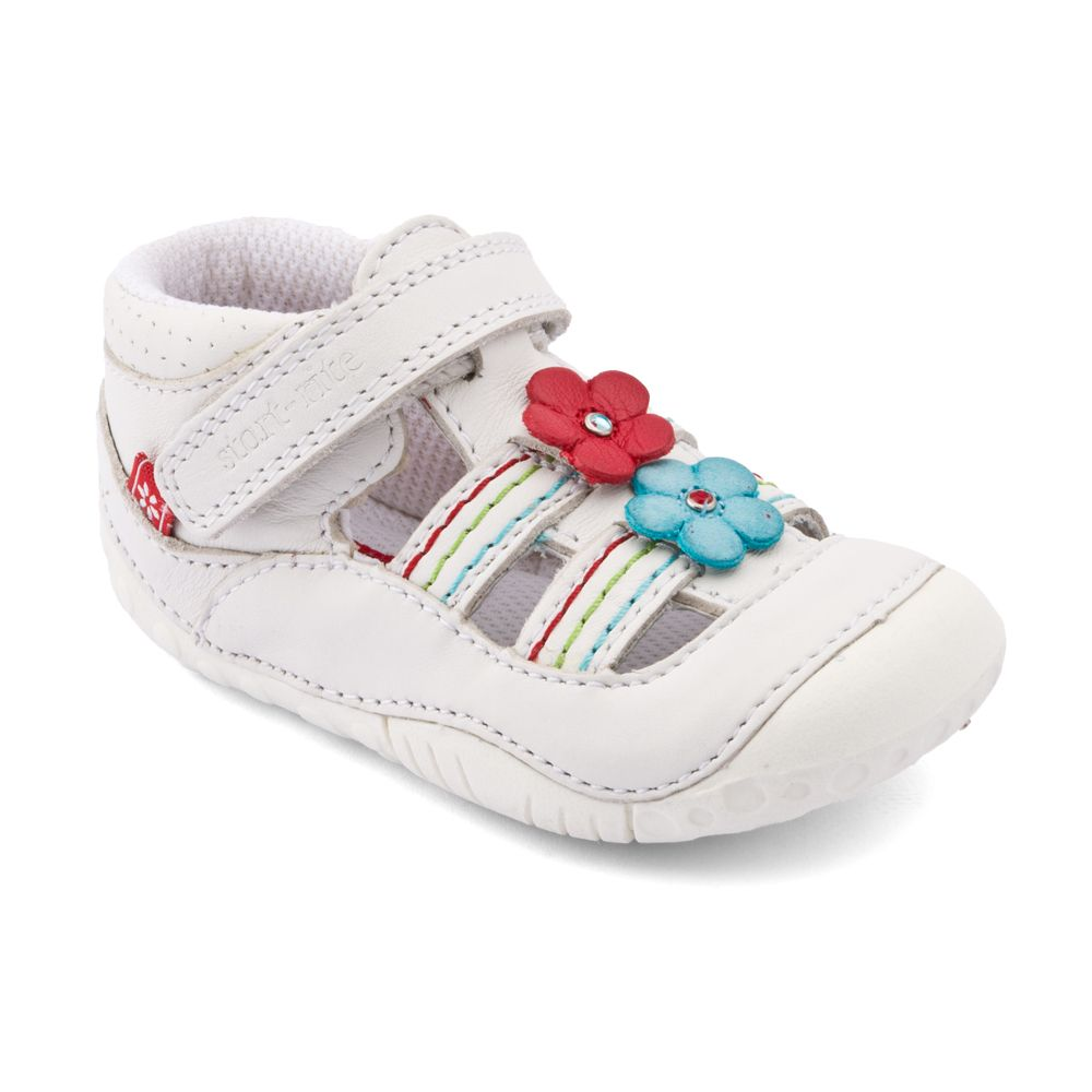 Girls isis white leathe pre-walker shoes