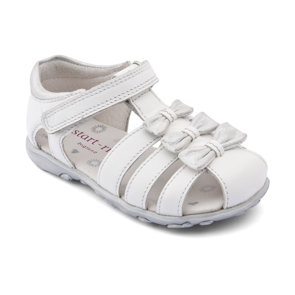 Girl`s cassia white leather sandals