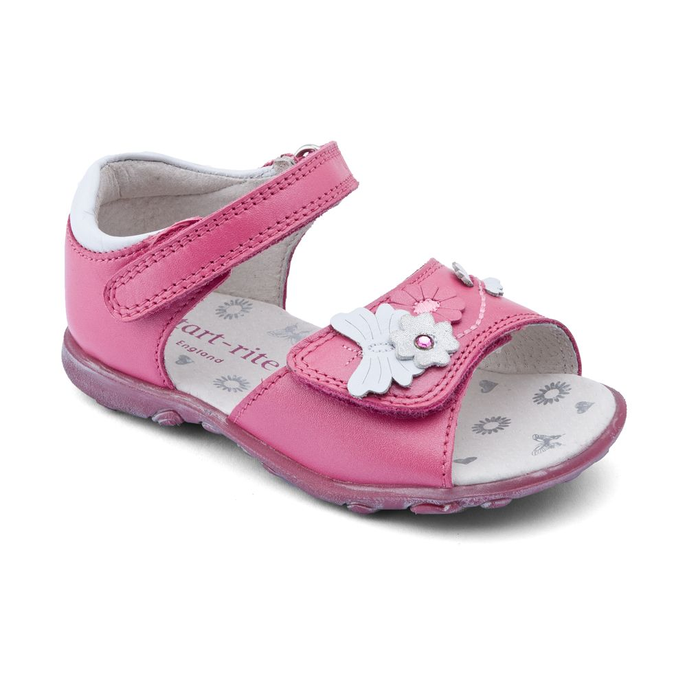 Girl`s verbena pink leather sandals