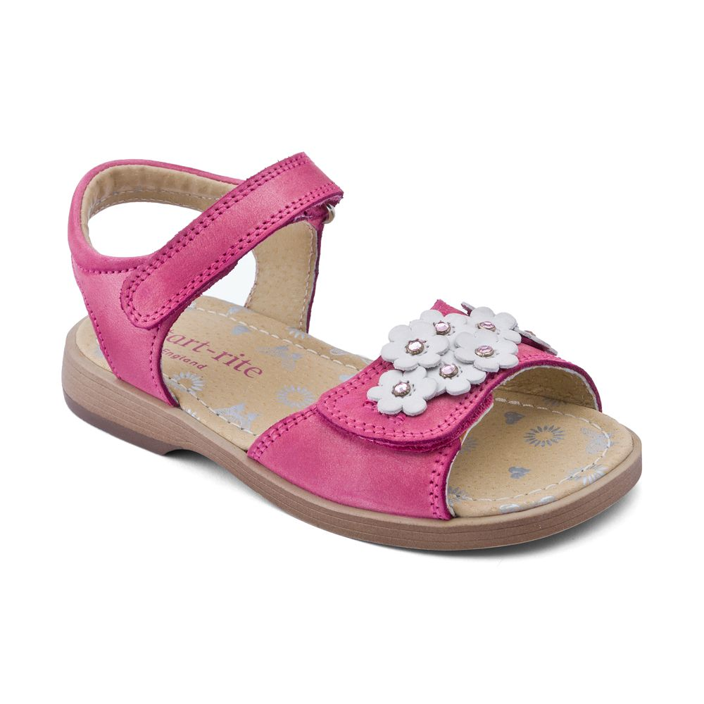 Girl`s moon flower white leather sandals