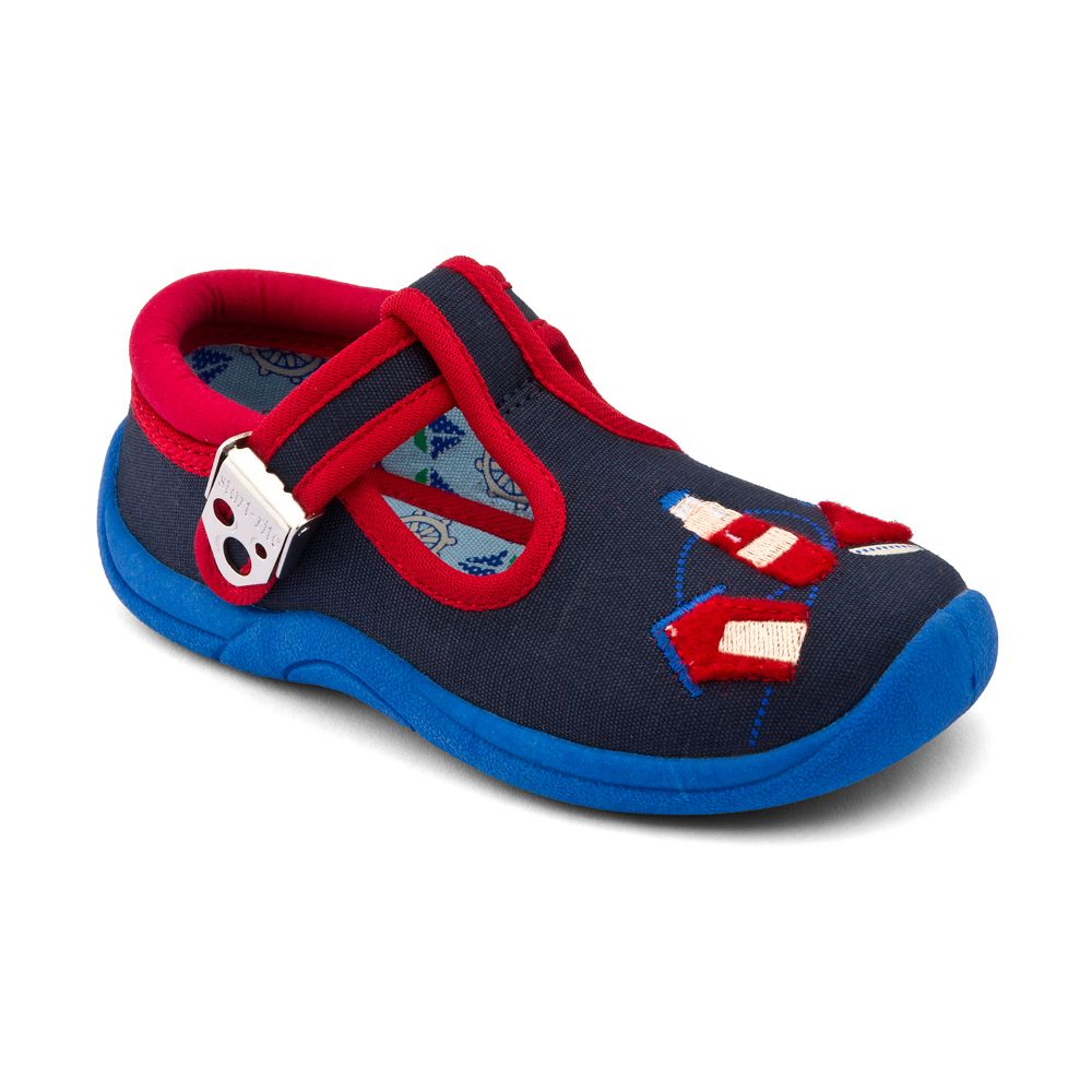 Boy`s seaside navy blue canvas shoes