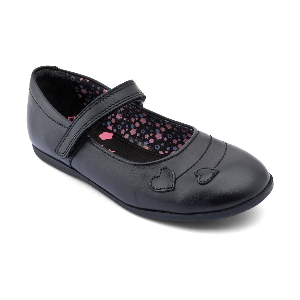 Infant girl`s saskia black leather shoes