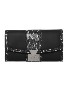 Ruby black print large flap over purse