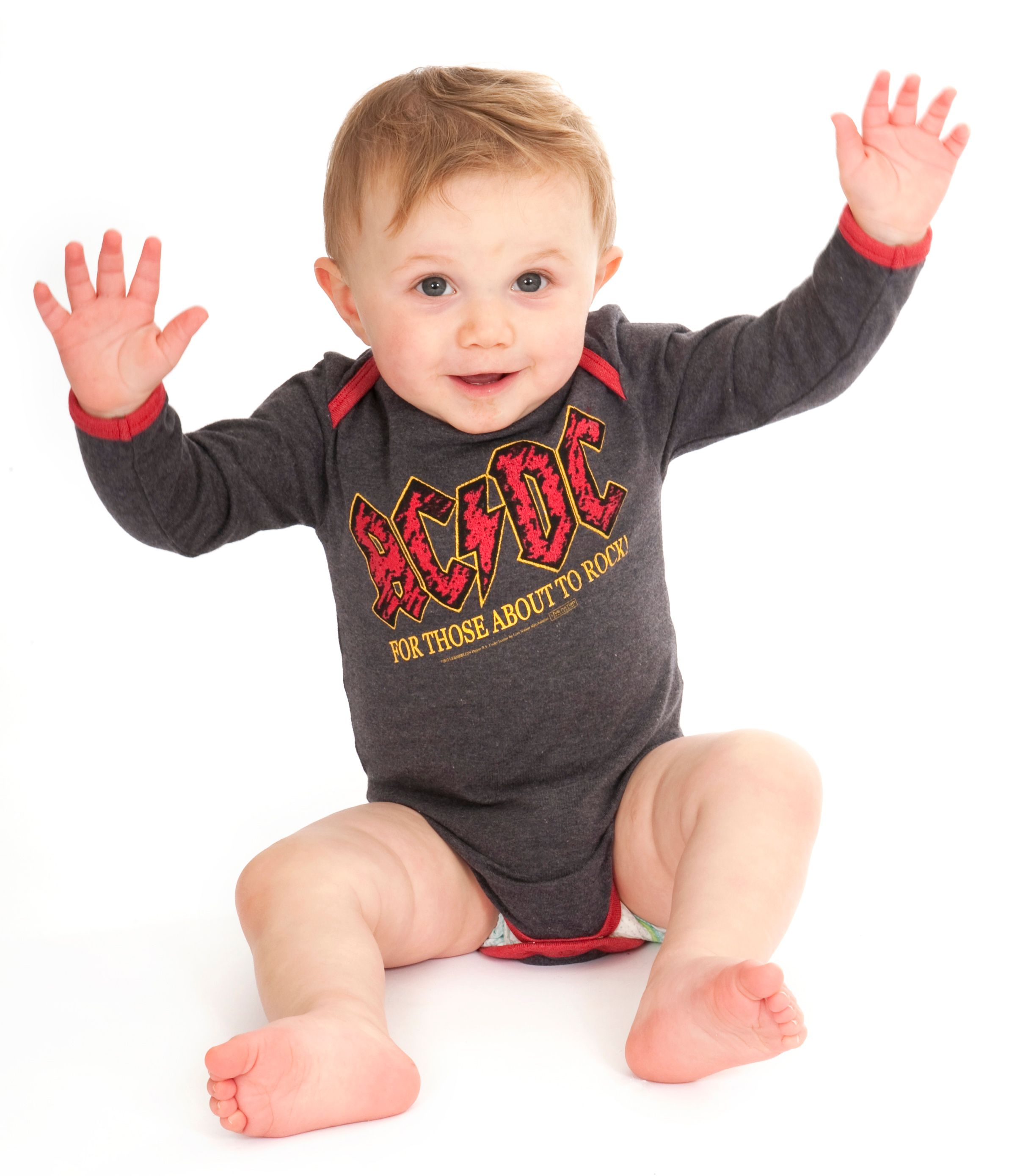 Baby`s AC/DC About To Rock marl babygrow