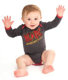 Amplified Kids Babies AC/DC About To Rock Marl Babygrow