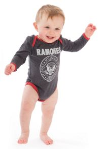 Amplified Kids Babies Ramones Logo Marl Babygrow