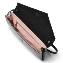 Leonie black patent assymetric clutch bag