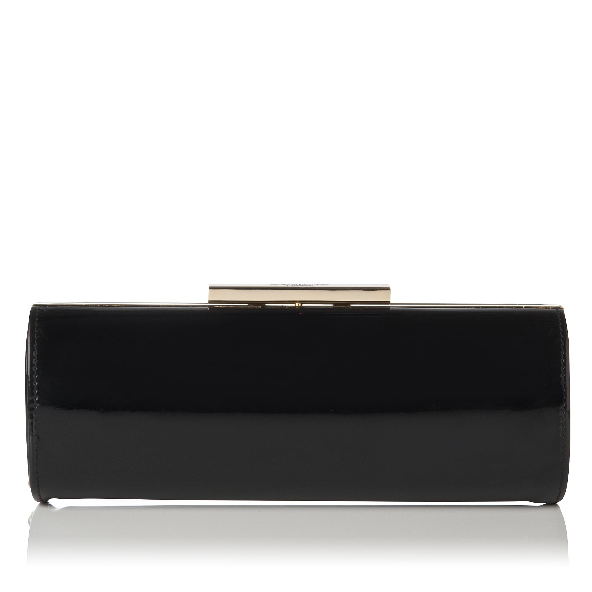 Avona black patent long roll clutch bag