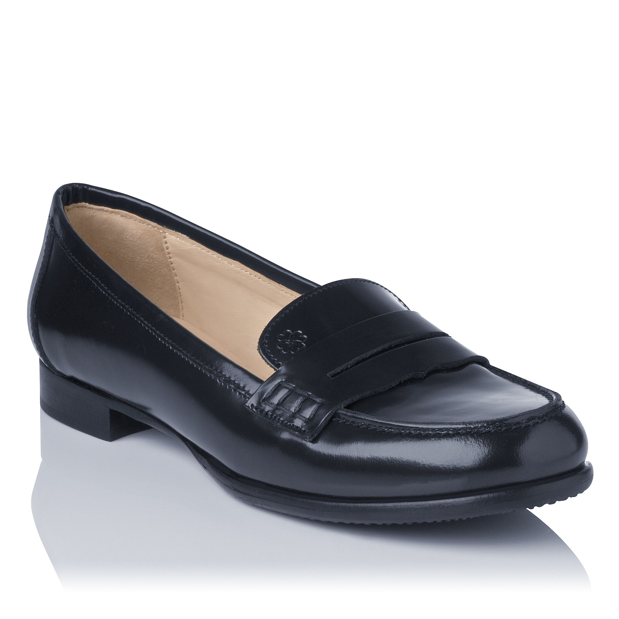 Vera leather flat round toe loafers