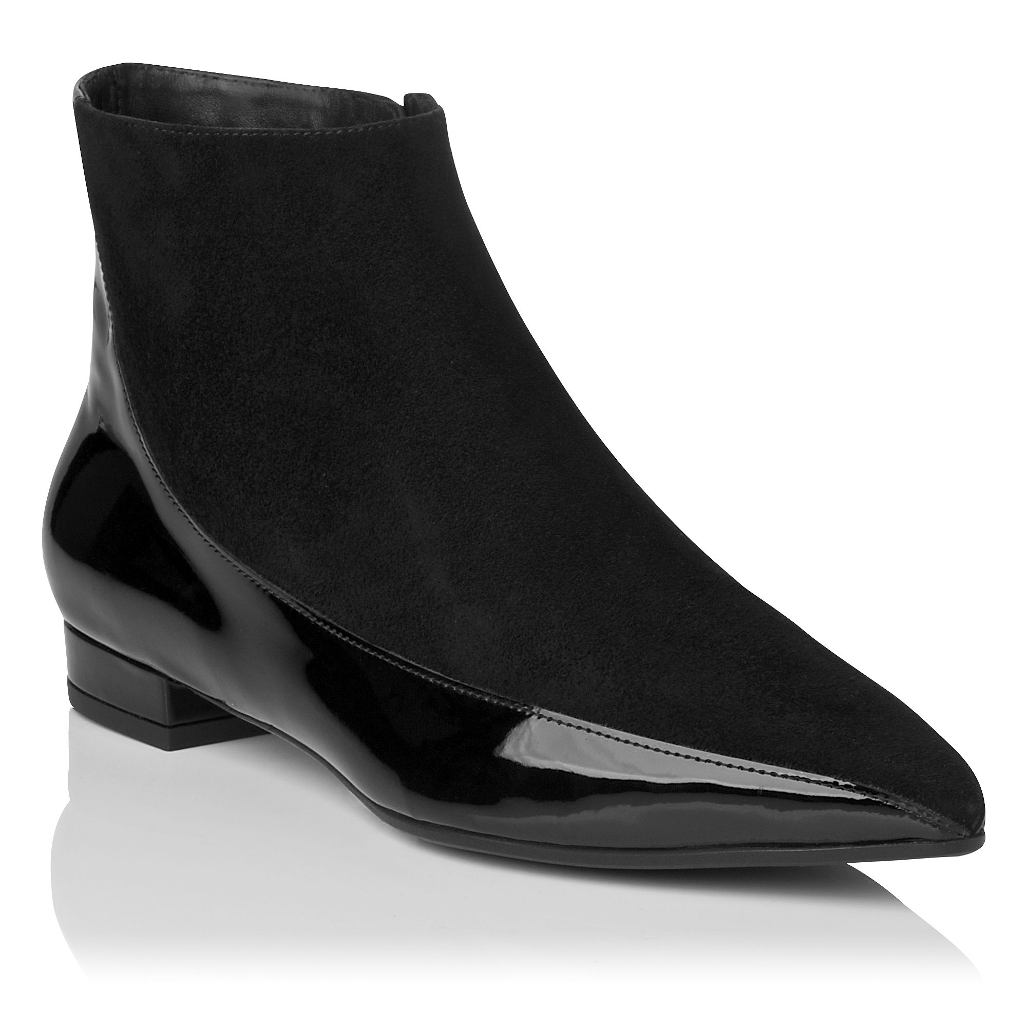 Alis pointed toe block heel flat boots