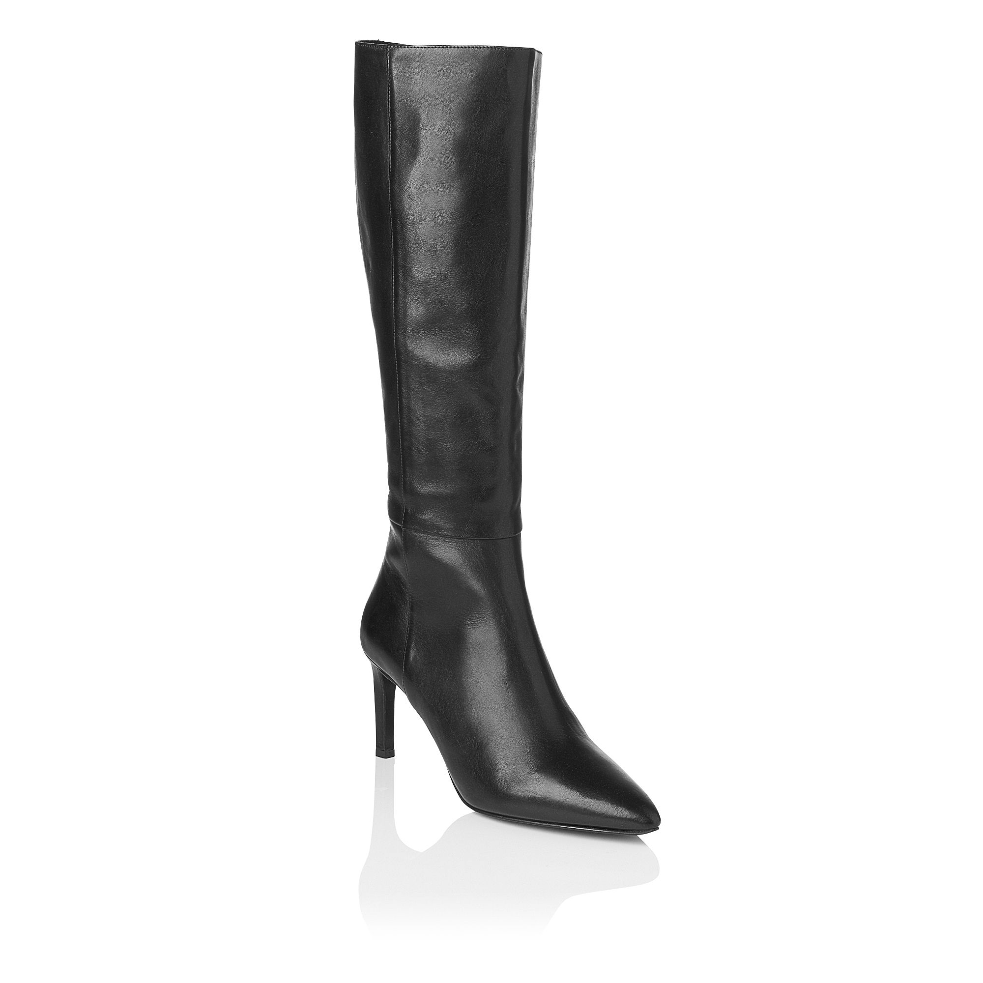 Romy leather pointed toe knee boots