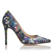 Fern aurora print pointed  toe court shoes