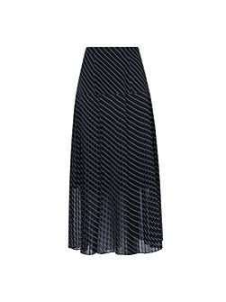 Lora Pleated Black Full Midi Skirt