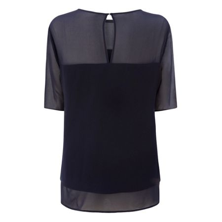 L.K. Bennett Elsa Blue Crepe Layered Top