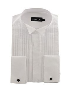 Wing collar plisse front dress shirt