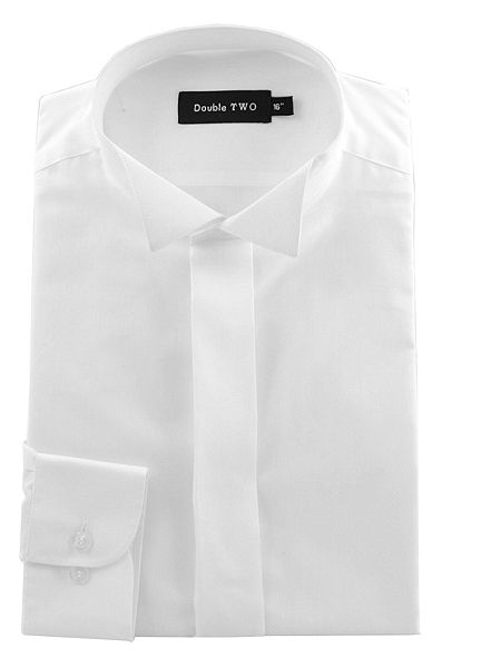 double two wing collar plain fly front dress shirt white