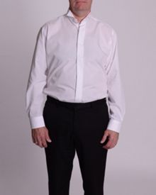 Wing collar plain fly front dress shirt