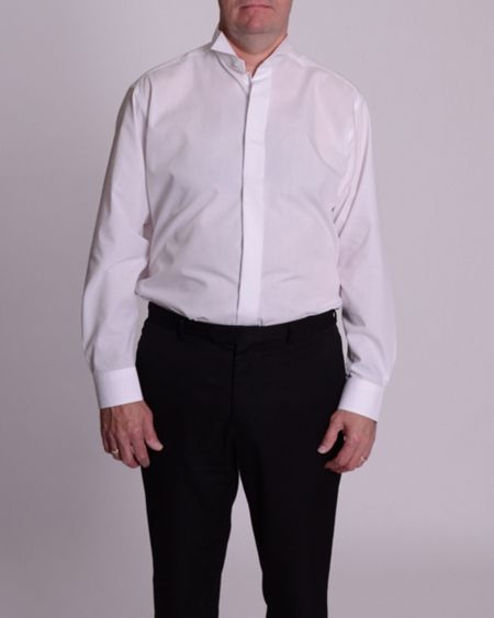 Double TWO Wing collar plain fly front dress shirt