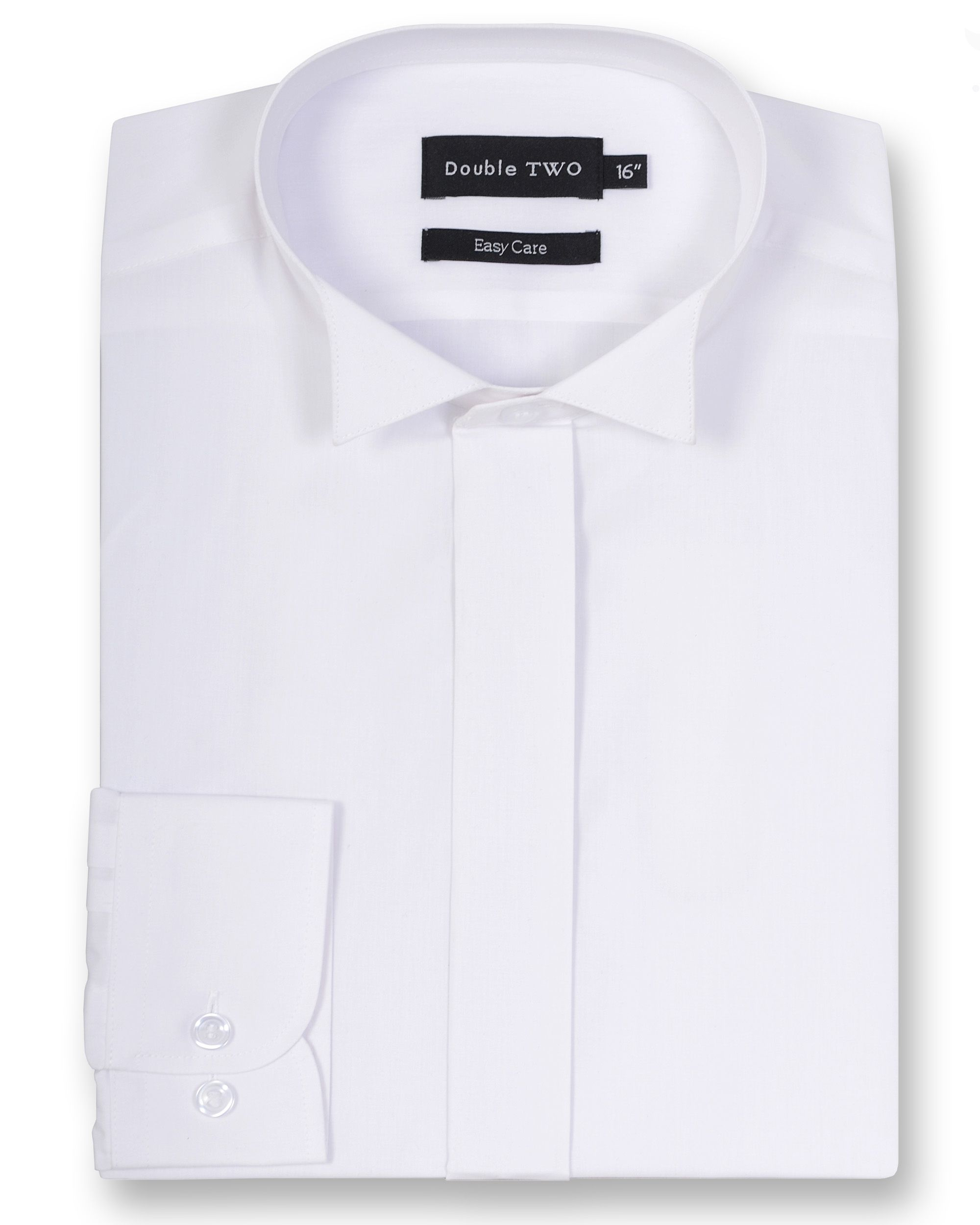 Mens Double TWO Wing collar plain fly front dress shirt White