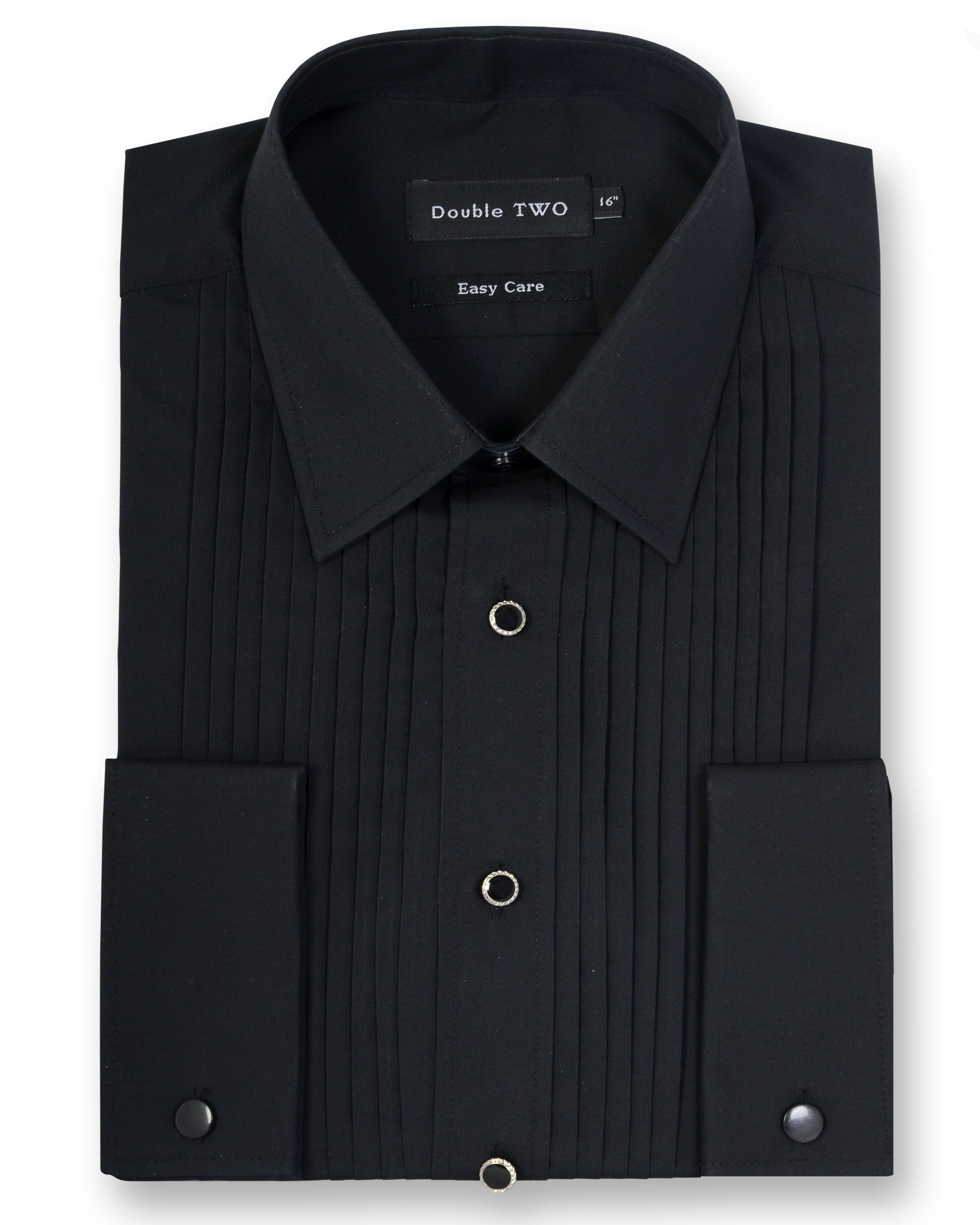 Mens Double TWO Classic Collar Stitch Pleat Dress Shirt Black