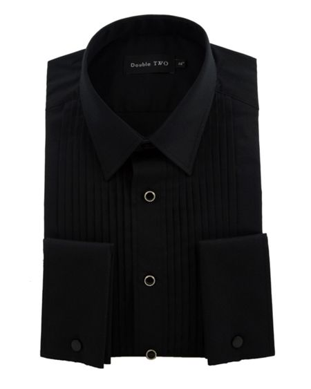 Double TWO Black stitch pleat dress shirt