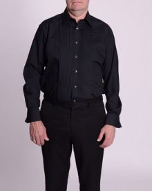 Black stitch pleat dress shirt