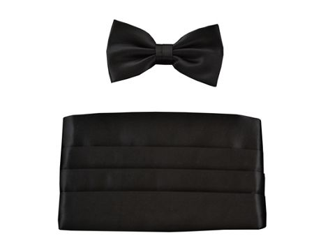 Double TWO Plain bow tie and cummerbund set