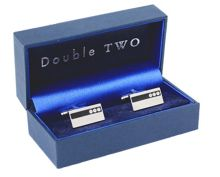 Rectangle crystal design cufflinks