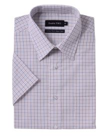Double TWO Check regular fit short sleeve shirt