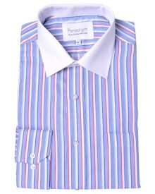 Double TWO Striped Classic Fit Long Sleeve Formal Shirt