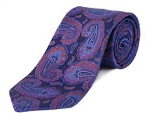 Double TWO Extra Long Paisley Silk Tie