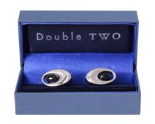Double TWO Black Oval Cufflinks