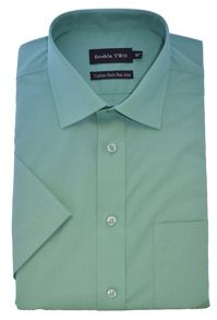 Double TWO Plain Cotton Short-Sleeved Shirt