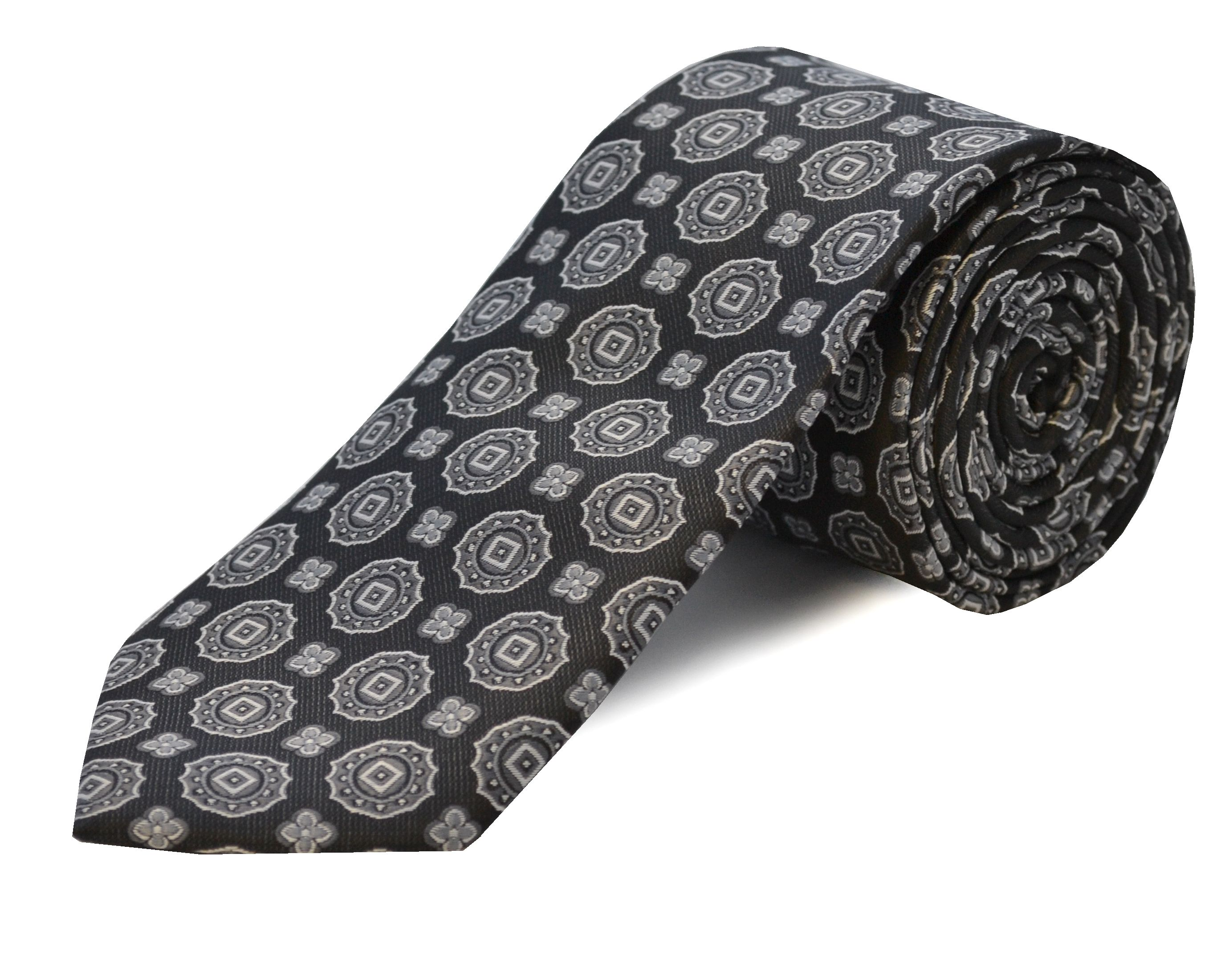 Double Two Double TWO Extra Long Polyester Tie, Black