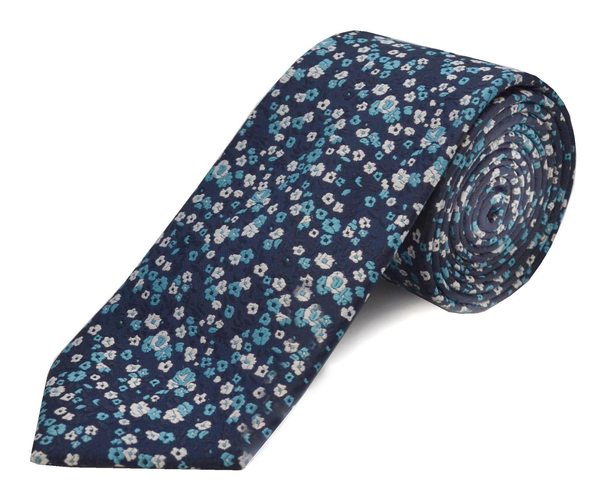 Double Two Double TWO Extra Long Polyester Tie, Blue