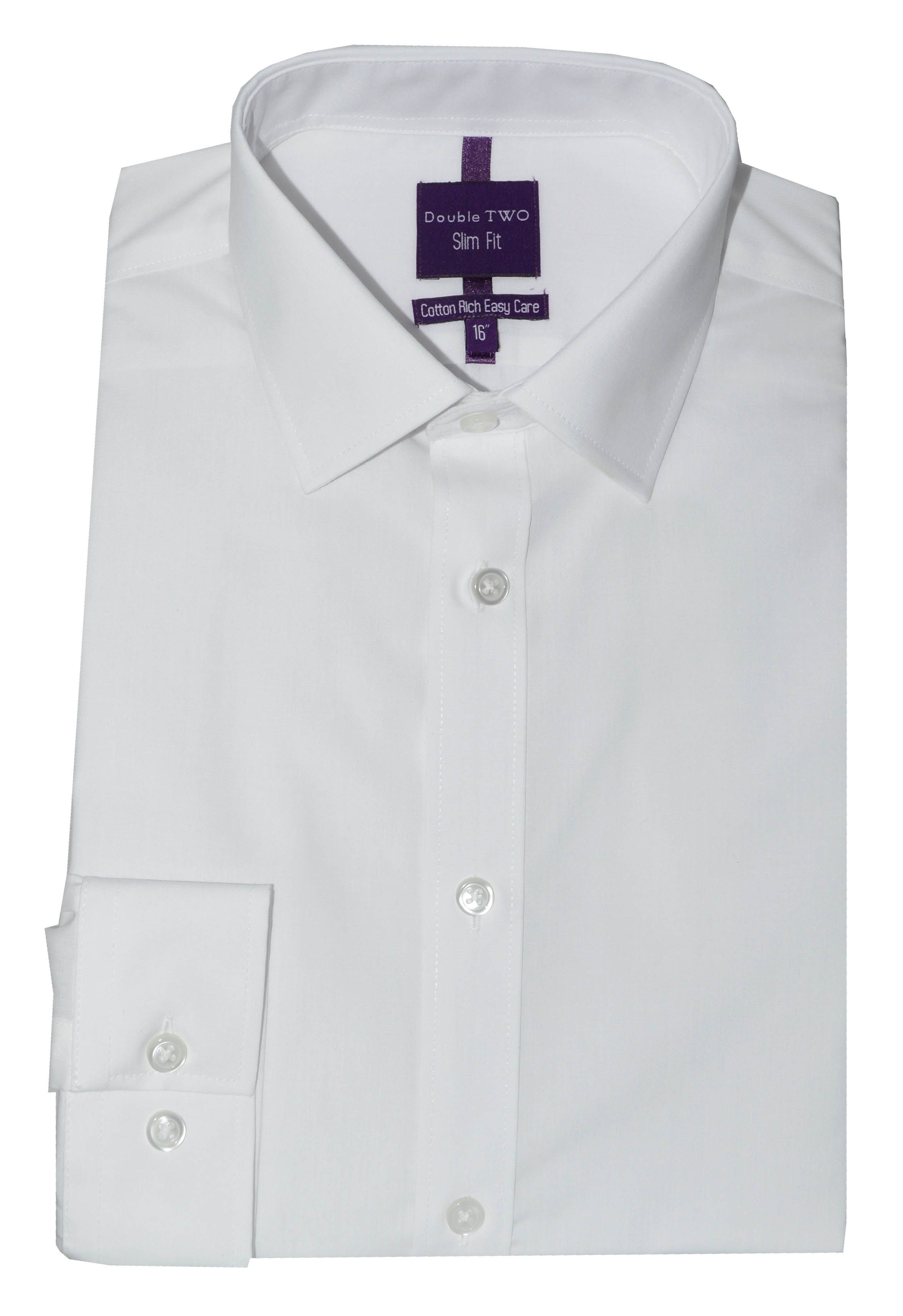 Double Two Men's Double TWO Slim Fit Formal Shirt, White