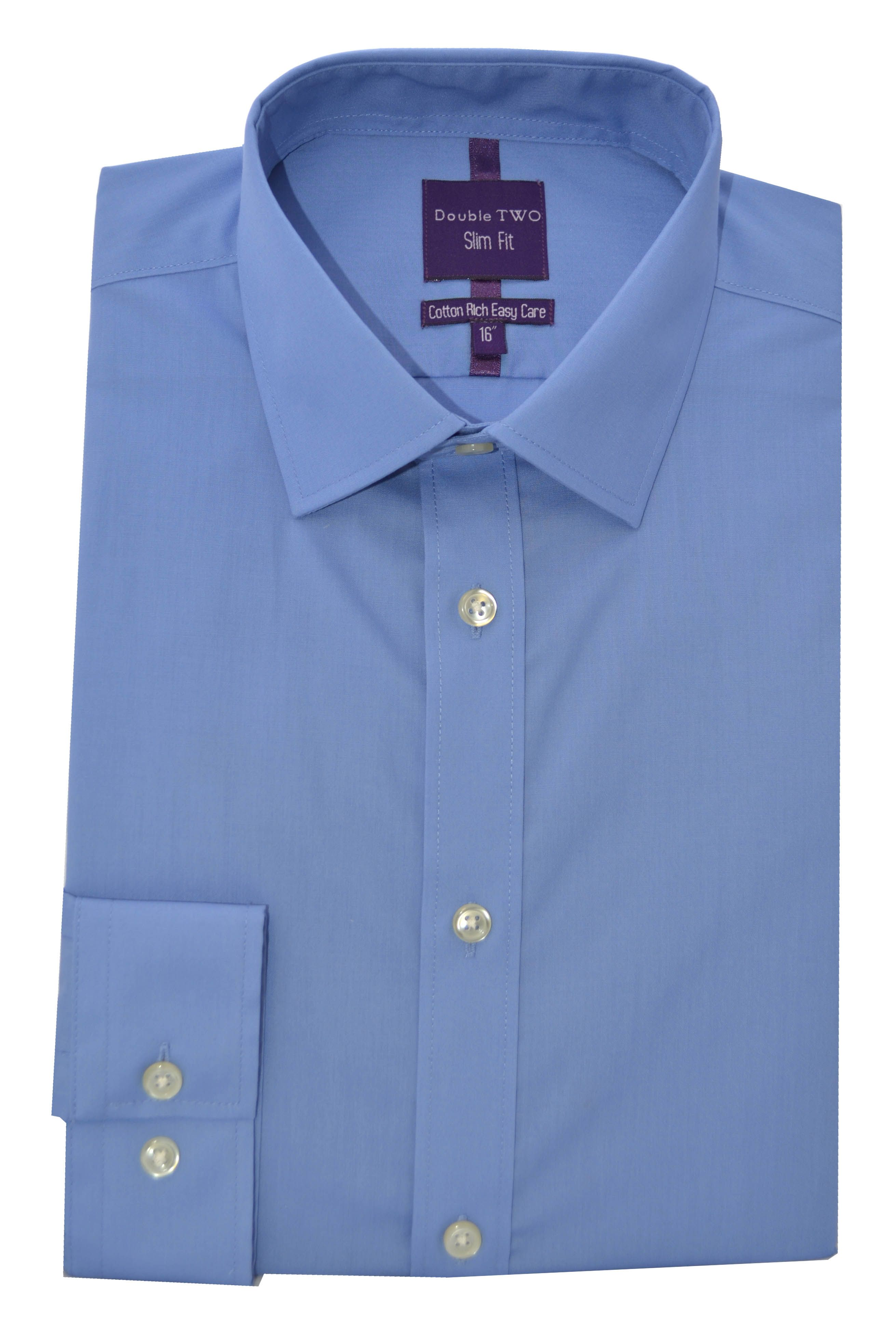 Double Two Men's Double TWO Slim Fit Formal Shirt, Blue