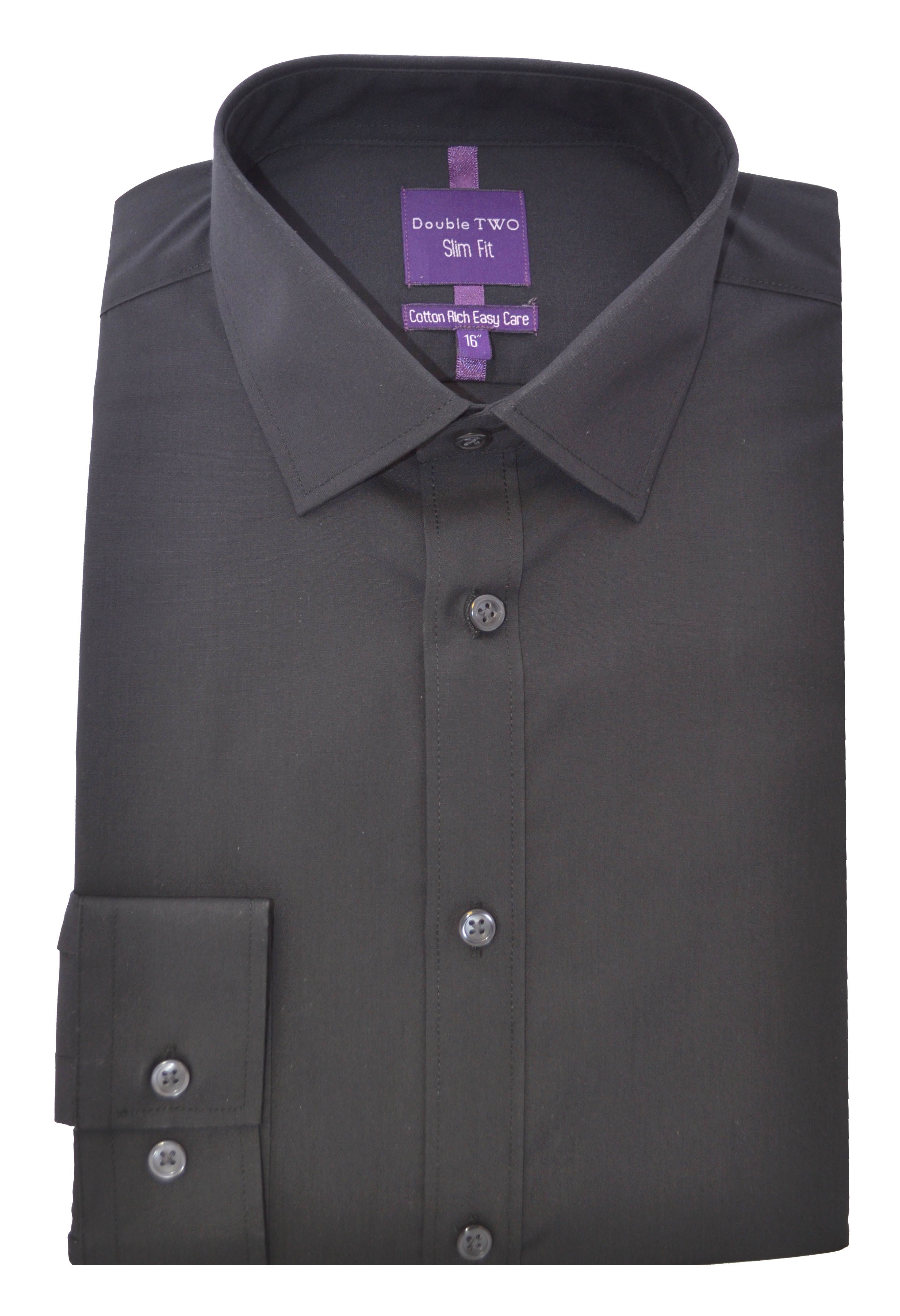 Double Two Men's Double TWO Slim Fit Formal Shirt, Black