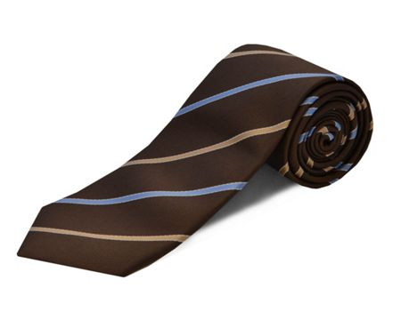 Double TWO polyester stripe tie