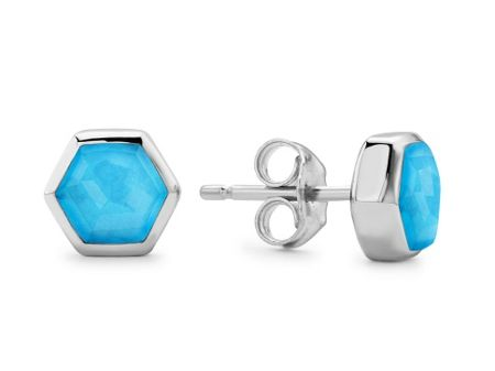 Missoma Ladies silver turquoise enigma bolt earrings