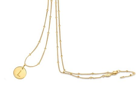 Missoma Ladies gold initial l pendant with beaded chain