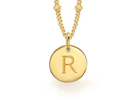 Missoma Ladies gold initial r pendant with beaded chain