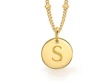 Missoma Ladies gold initial s pendant with beaded chain
